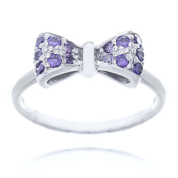 Blue Box Jewels Rhodium-plated Sterling Silver Purple Cubic Zirconia Mini Bow Ring