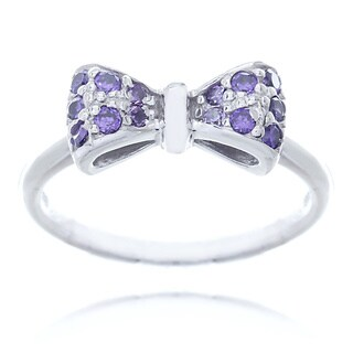 Blue Box Jewels Rhodium-plated Sterling Silver Purple Cubic Zirconia Mini Bow Ring