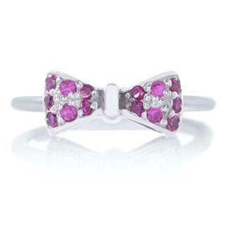 Blue Box Jewels Rhodium-plated Sterling Silver Ruby Cubic Zirconia Mini Bow Ring