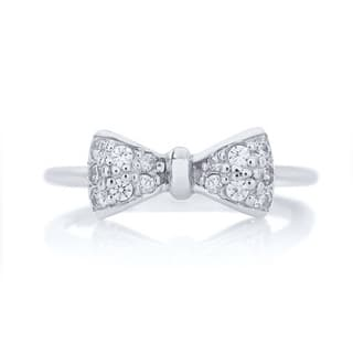 Blue Box Jewels Rhodium Plated Sterling Silver Cubic Zirconia Mini Bow Ring|https://ak1.ostkcdn.com/images/products/9189360/P16362945.jpg?impolicy=medium