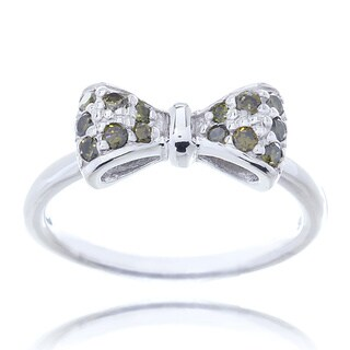 Blue Box Jewels Rhodium-plated Sterling Silver Peridot Green Cubic Zirconia Mini Bow Ring