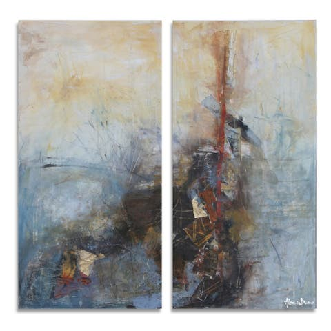 'Bueno Exchange LXXIV' 2-Pc Wrapped Canvas Abstract Wall Art Set