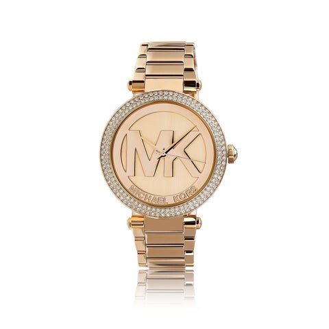 Michael Kors Women's 'Parker' Logo Dial Rosetone Watch - Pink