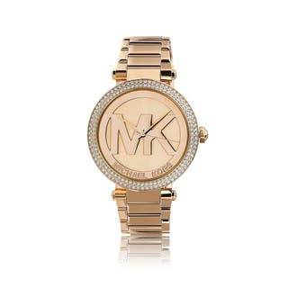 Michael Kors Women's MK5865 'Parker' Logo Dial Rosetone Watch|https://ak1.ostkcdn.com/images/products/9189434/P16363011.jpg?impolicy=medium