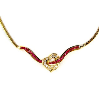 Kabella Vintage Estate 14k Yellow Gold 3/5ct TDW Diamond Ruby Heart Estate Necklace (H-I, SI1-SI2)