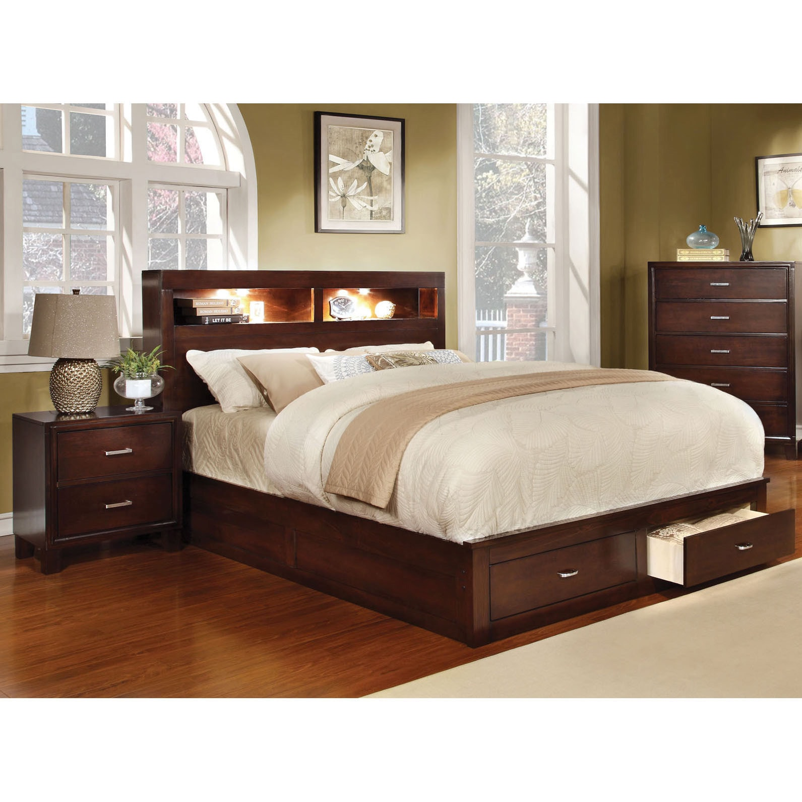 Shop Clement Storage Platform Wood Bed by Furniture of America ...