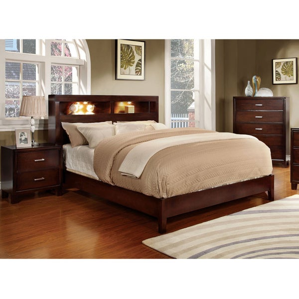 furniture of america clement 2 piece platform bed with nightstand set free shipping today. Black Bedroom Furniture Sets. Home Design Ideas