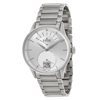 Edox Men's 'Les Vauberts Day Retrograde' Stainless Steel Retrograde Watch