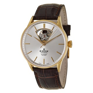 Edox Men's 'Les Vauberts Automatic' Yellow Goldtone Stainless Steel Mechanical Automatic Watch