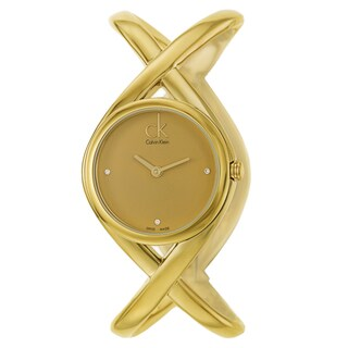 Calvin Klein Women's 'Enlace' Yellow Gold PVD Coated Stainless Steel Swiss Quartz Watch