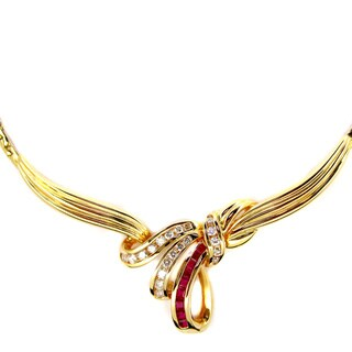Kabella Vintage Estate 14k Yellow Gold 1/2ct TDW Diamond Ruby Estate Necklace (H-I, SI1-SI2)