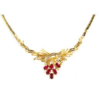 Kabella Vintage Estate 14k Yellow Gold 1/2ct TDW Diamond Oval Ruby Estate Necklace (H-I, SI1-SI2)