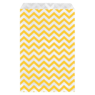200-piece Yellow Chevron Paper Gift Bags (6x9)