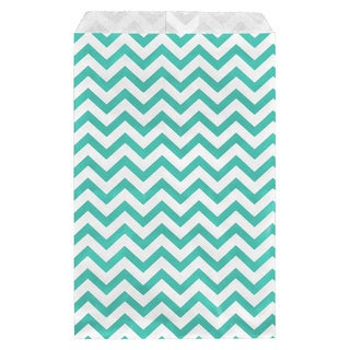 200-piece Turquoise Chevron Paper Gift Bags (6x9)