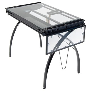 Studio Designs Futura Steel Drafting and Hobby Craft Station Table with Folding Shelf (Option: Black)