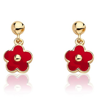 Frosted Flowers 14k Goldplated Children's Small Hanging Red Enamel Flower Earrings