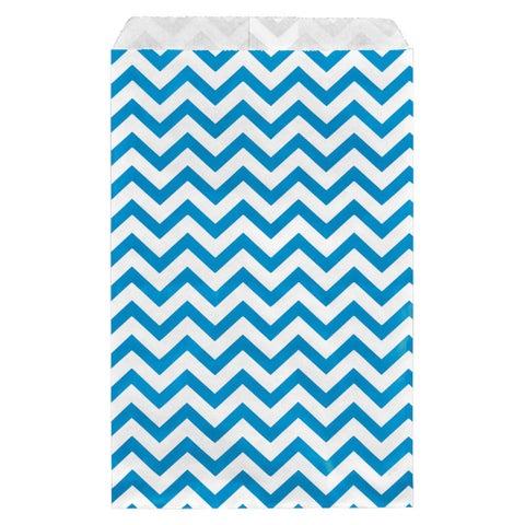 200-piece Chevron Paper Bags in Blue (6x9)