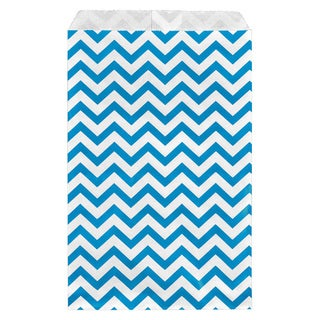 200-piece Chevron Paper Bags in Blue (6x9)