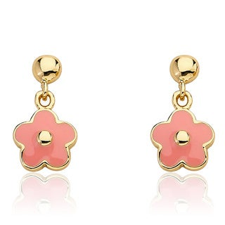 Frosted Flowers 14k Goldplated Children's Small Hanging Pink Enamel Flower Earrings