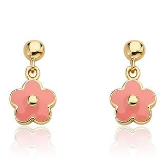 Frosted Flowers 14k Goldplated Children's Small Hanging Pink Enamel Flower Earrings|https://ak1.ostkcdn.com/images/products/9189559/P16363106.jpg?impolicy=medium
