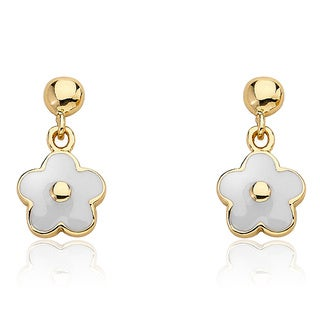 14k Goldplated Children's Small Hanging White Enamel Flower Earrings