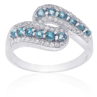 Dolce Giavonna Sterling Silver London Blue Topaz and Cubic Zirconia Ring