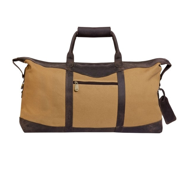 Utah 22-inch Leather/ Canvas Lightweight Carry On Duffel Bag ...