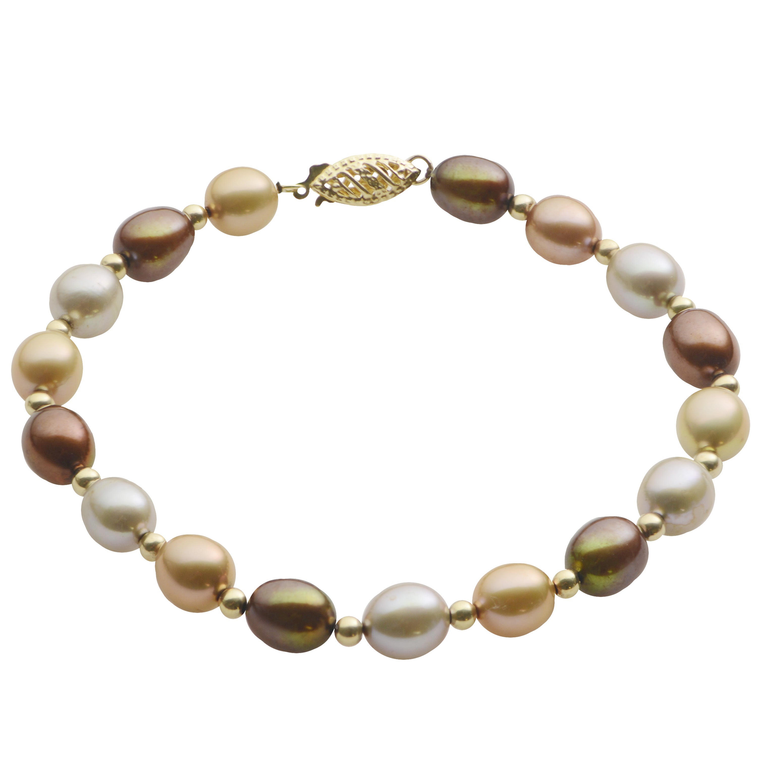 14K White Gold Station Anklet Bracelet With Freshwater Pearls 9.5 Inches