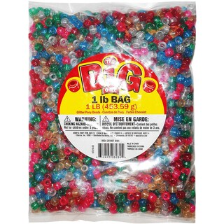 Glitter Pony Beads 9mm 1lb Bag-Assorted Colors