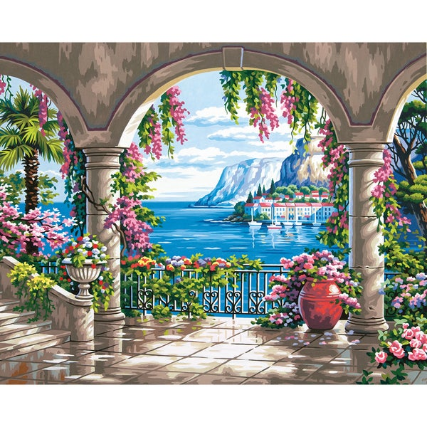 Paint by number kit 16inx20in floral patio free shipping for Walmart arts and crafts paint