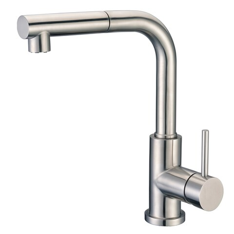 Cadell 71200 Brushed Stainless Steel Single Handle Kitchen Faucet with Pull-Down