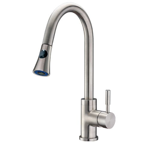 Cadell 71300 Brushed Stainless Steel Single Handle Kitchen Faucet with Pull-Down