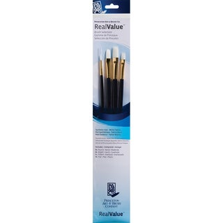Real Value Brush Set Synthetic White Taklon-Round 1, Bright 4, Filbert 4, Flat 6