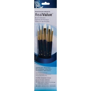 Real Value Brush Set Synthetic White Taklon-Round 1,4,Angular Shader 3/8,Shader 4,8