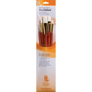 Real Value Brush Set Synthetic White Taklon-Round 1,6,Bright 6,Filbert 8,Flat 12