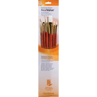 Real Value Brush Set Synthetic White Taklon-Round 2,6,Fan 2,Filbert 4,Ang 4,Flat 10