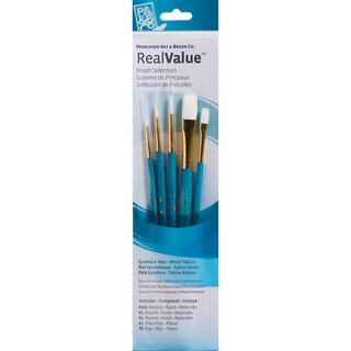 Real Value Brush Set Synthetic White Taklon-Round 3/0,2,4, Flat 2,6