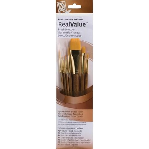 Real Value Brush Set Synthetic Gold Taklon-Round 5/0,0,5,liner 2,shader 2,8,wash3/4