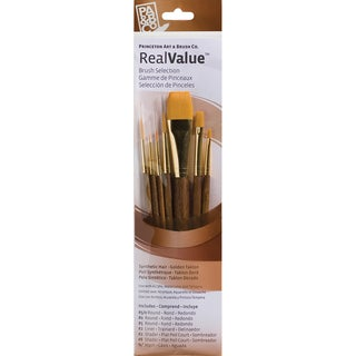 Real Value Brush Set Synthetic Gold Taklon-Round 5/0,0,5,liner 2,shader 2,8,wash3/4