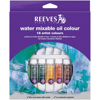 Reeves Water Mixable Oil Paint 10ml 18/Pkg-Assorted Colors