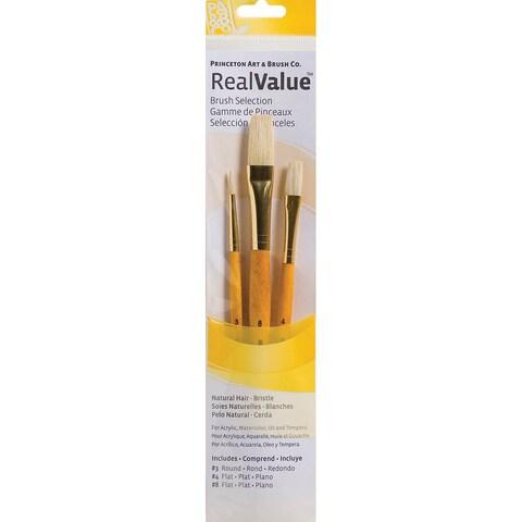 Real Value Brush Set Natural Bristle-Round 3, Flat 4,8
