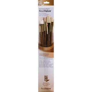 Real Value Brush Set Natural Sable-Rnd 2,Flat 4,Flb 4,Rnd 6,Flb 12,Brt 8