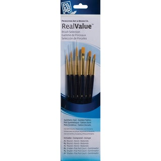 Real Value Brush Set Synthetic Gold Taklon-Round 1,3,5, Shader 2,4,6