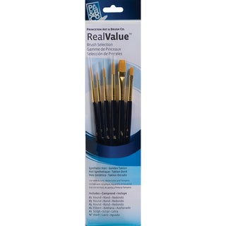 Real Value Brush Set Synthetic Gold Taklon-Round 1,3,5,Filbert 4,Script 1,Wash 3/8