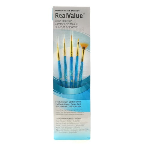 Real Value Brush Set Synthetic Gold Taklon-Round 3/0,3,Liner 20/0,Fan 12/0,Ang 0