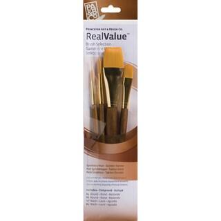 Real Value Brush Set Synthetic Gold Taklon-Round 4,8, Wash 1/2,1