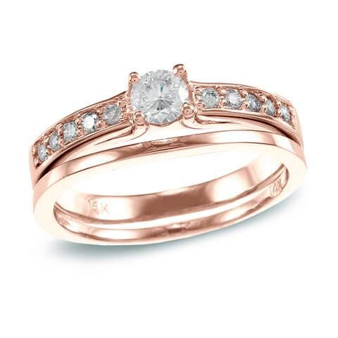 Auriya 14k Rose Gold 1/2ctw Round Diamond Engagement Ring Set