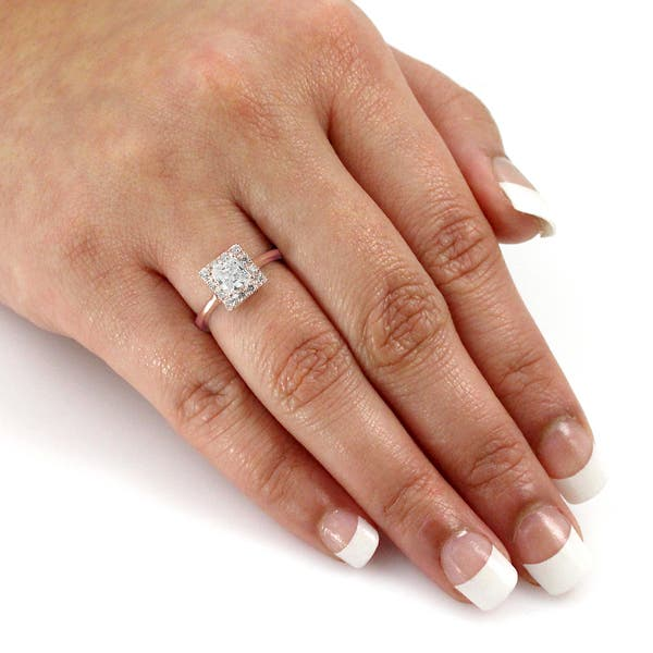 Auriya 14k Rose Gold 1 2ctw Square Princess Cut Diamond Halo Engagement Ring On Sale Overstock 9190116