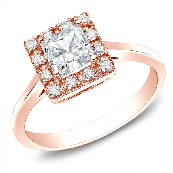 Shop Auriya 14k Rose Gold 1 2ctw Square Princess Cut Diamond Halo Engagement Ring On Sale Overstock 9190116