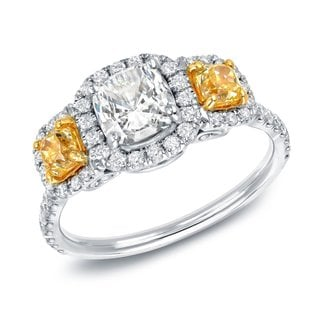 Link to Auriya 14k Two-tone Gold 2ctw 3-stone Fancy Yellow Diamond Engagement Ring Certified Similar Items in Wedding Rings